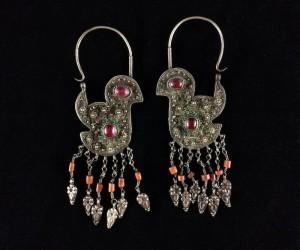 Antichi orecchini uzbeki con ametiste
