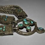 Antica briglia tibetana in argento e turchesi