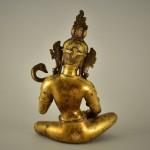 Scultura in bronzo dorato di Sarasvati - Tibet