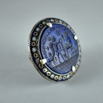 Grande anello in argento e lapis inciso - Multan