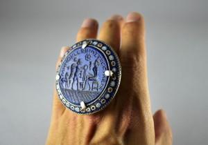Grande anello in argento e lapis inciso - Multan