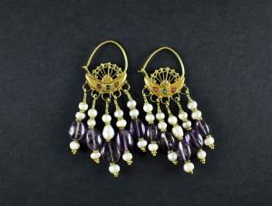 Antichi orecchini in oro, perle e ametiste - Uzbekistan