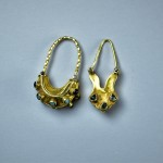 Antichi orecchini in oro turchese e granato - Siria
