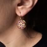 Antichi orecchini in oro e rubini - Tamil Nadu