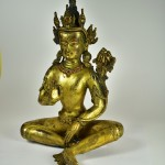 Scultura tibetana in bronzo dorato - Avalokitesvara