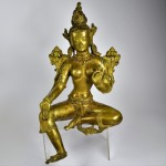 Scultura in bronzo dorato - Tara verde