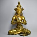 Scultura in bronzo dorato - Buddha Vairochana
